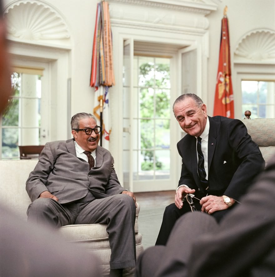 Thurgood Marshall with LBJ in the Oval Office